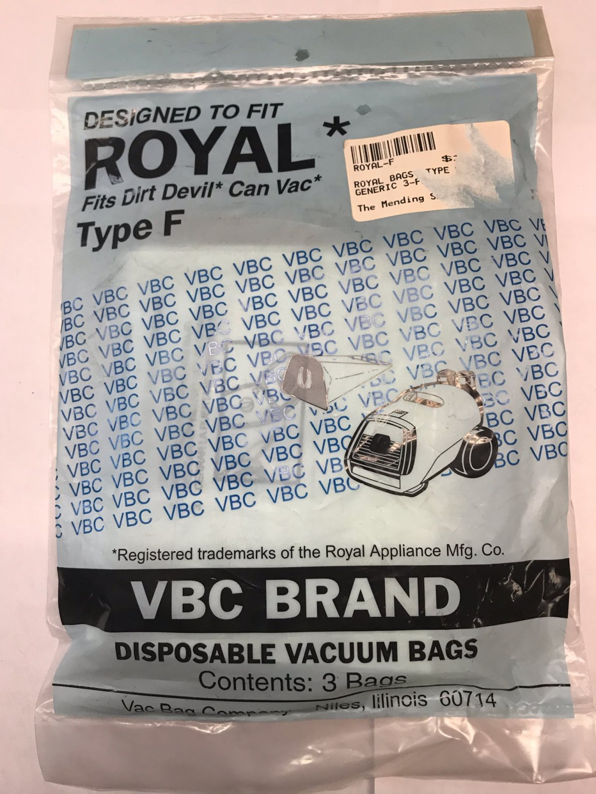 ROYAL BAGS TYPE F GENERIC 3-PACK