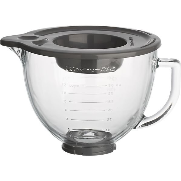 KitchenAid 5QT Tilt Head Glass Bowl with Thread Ring and Lid
