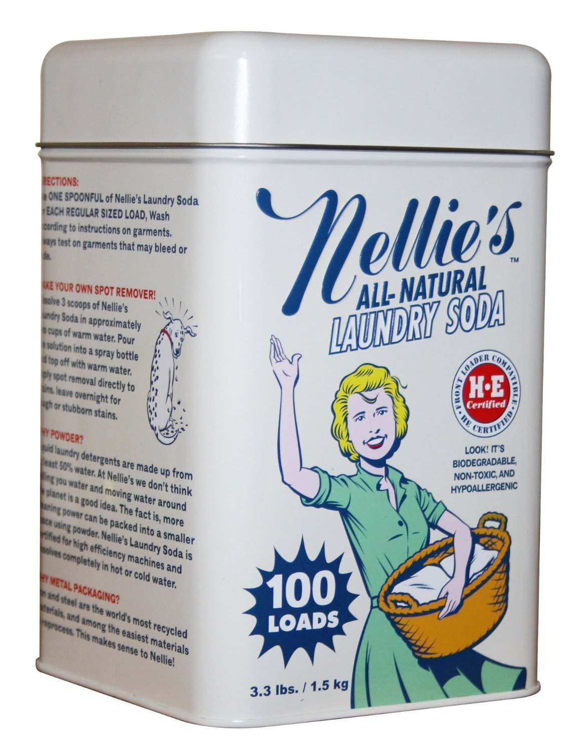 Nellie's Laundry Soda Tin - 100 Loads