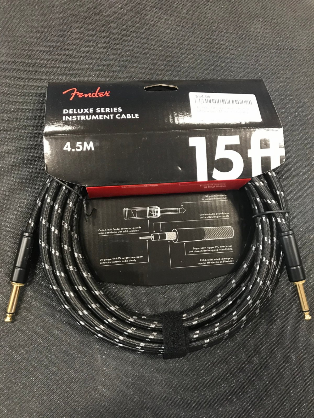 Fender Deluxe Series Instrument Cable - 15' Straight-Straight, Black Tweed