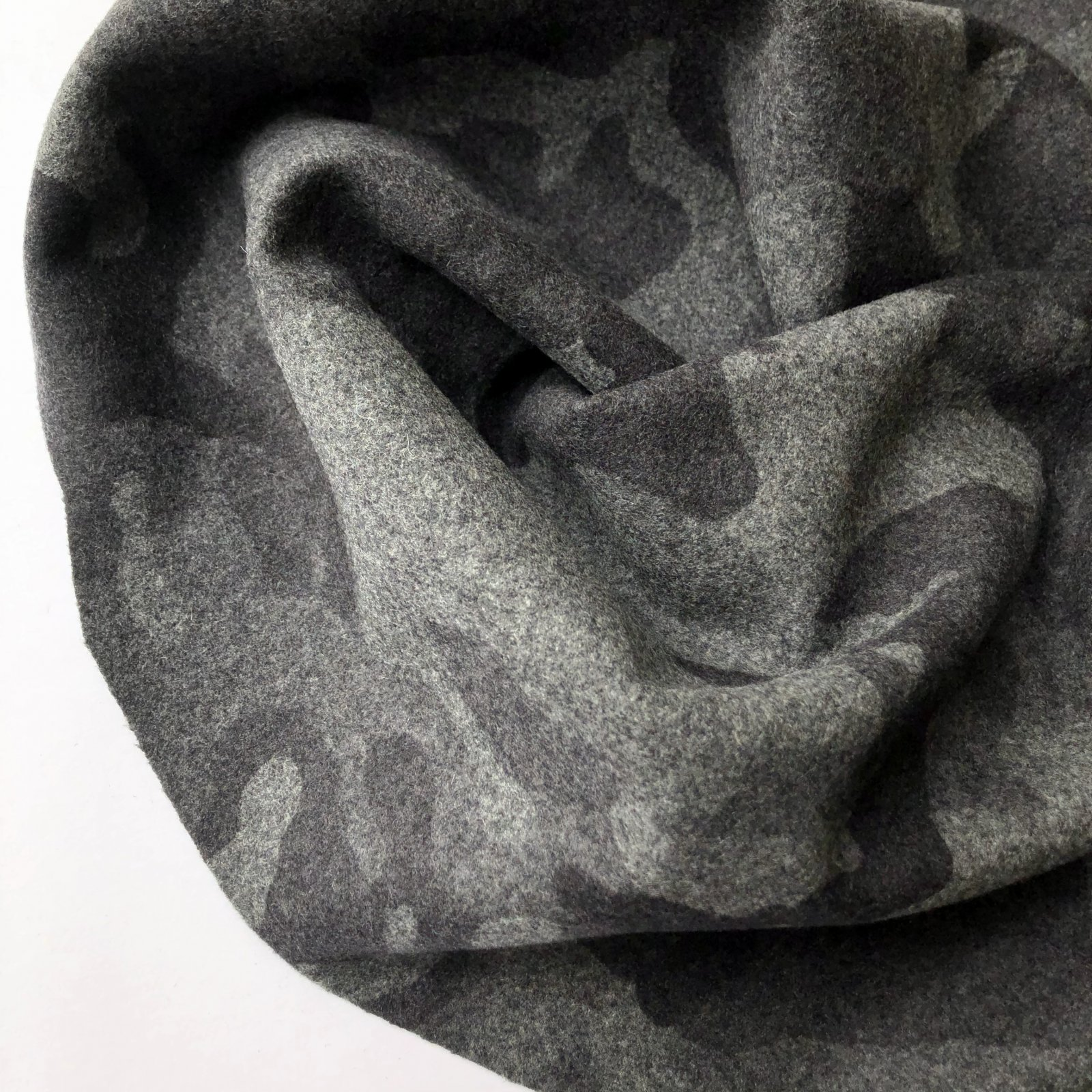 Deadstock Wool Nylon Coating - Charcoal Camo 58