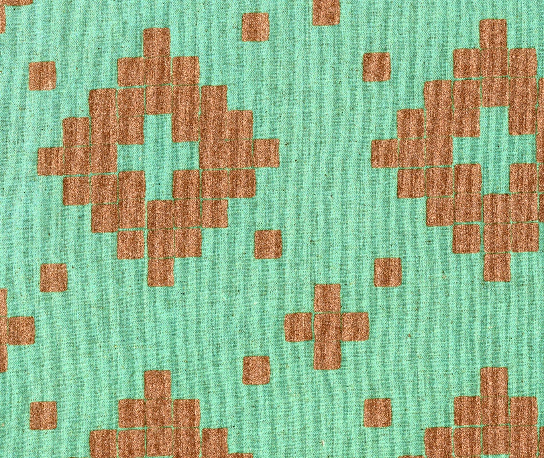 Mesa Tile Cotton Linen Canvas - Aqua Metallic