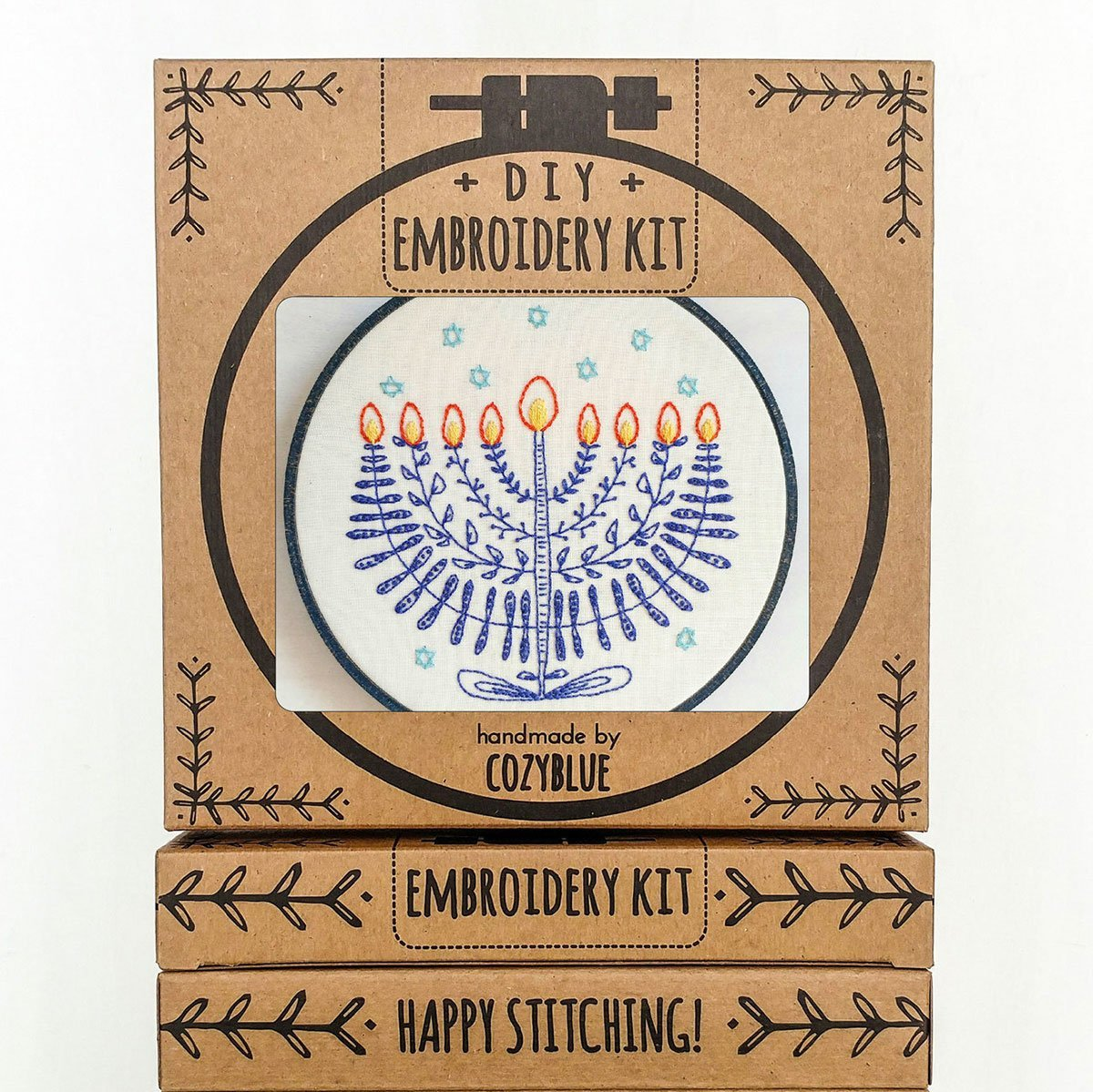 Cozy Blue Handmade Embroidery Kit - Festival of Lights