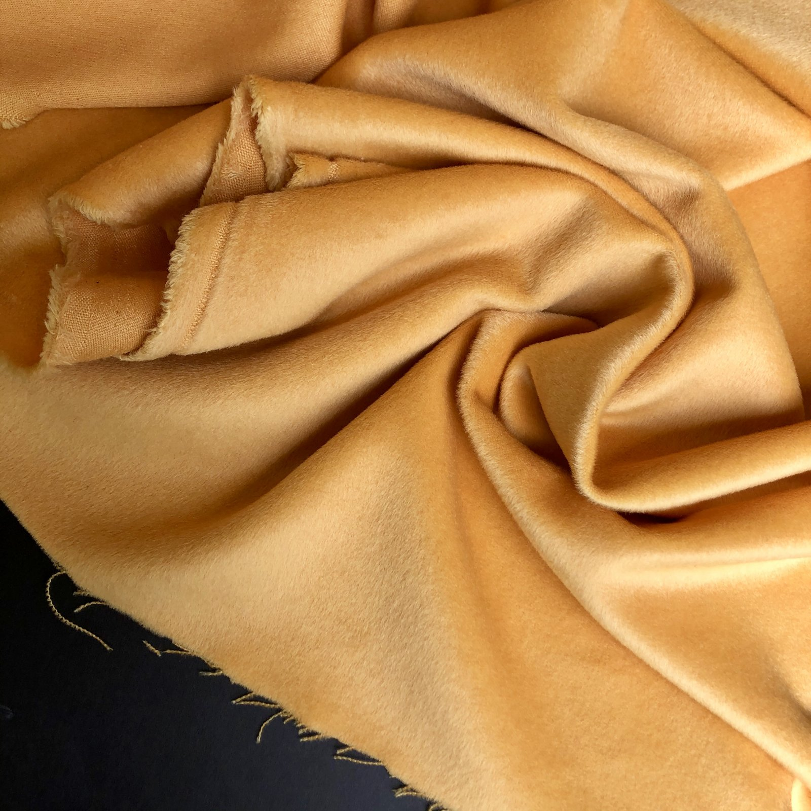 Designer Deadstock Wool/Nylon/Cashmere Brushed Coating - Sunset Yellow