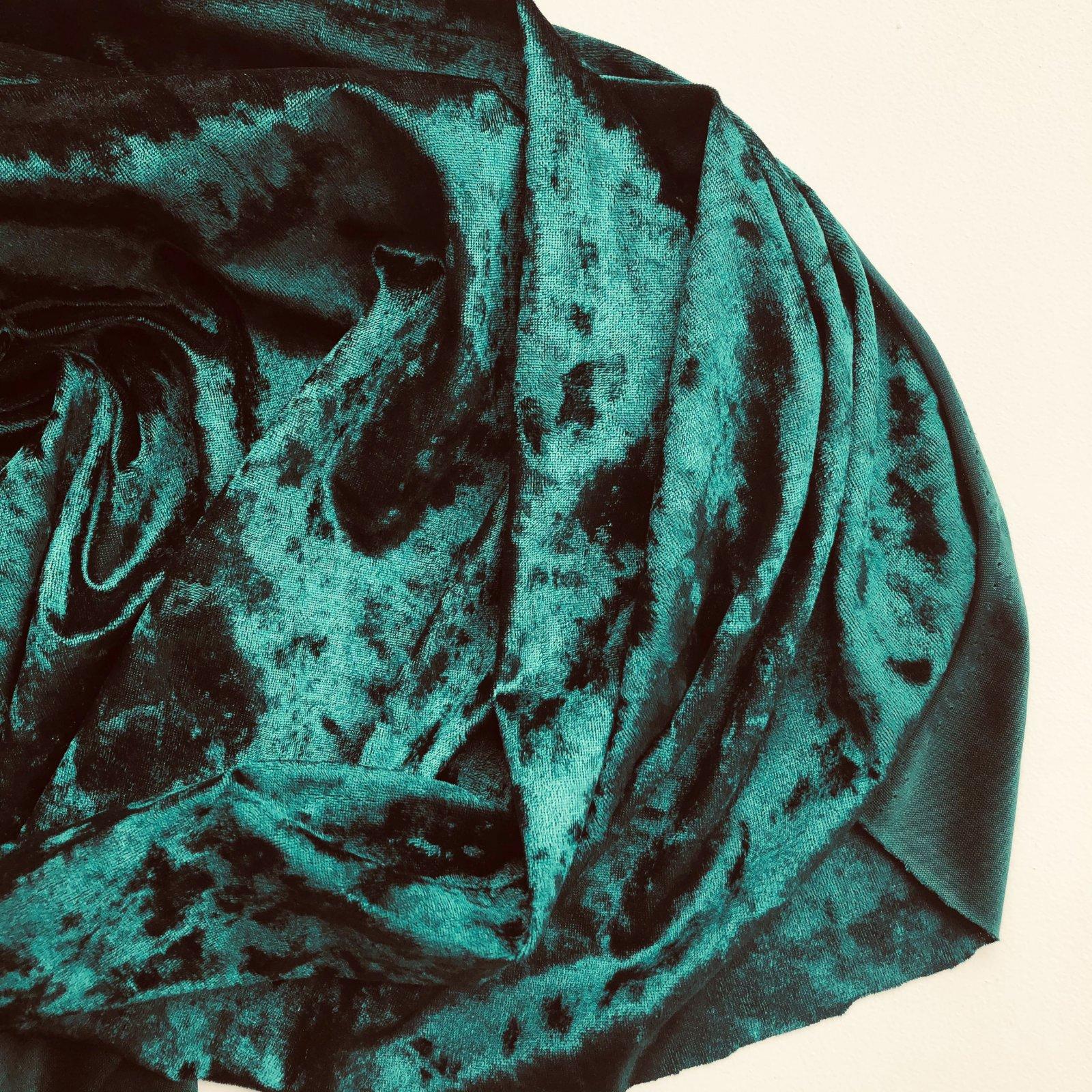 Deadstock Crushed Stretch Velvet Velour Knit 58 - Emerald