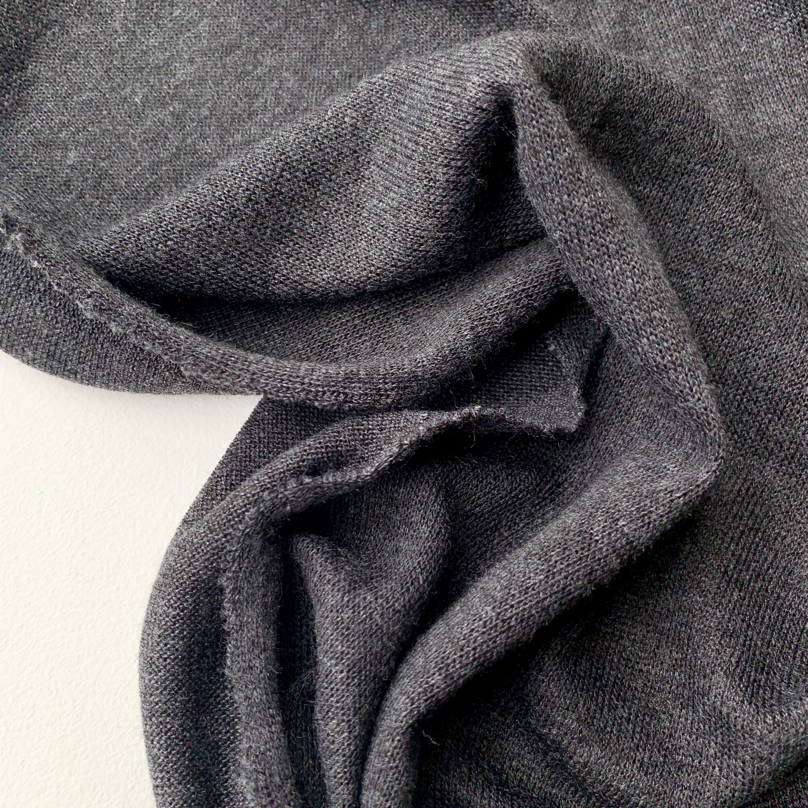 Deadstock Wool Blend Lightweight Sweater Knit - Heathered Charcoal 54