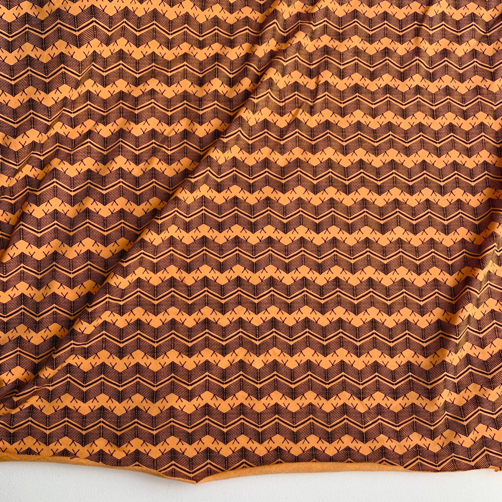 WEB ONLY - Designer Deadstock Organic Cotton Stretch Jersey - Bright Orange Zigzag 60