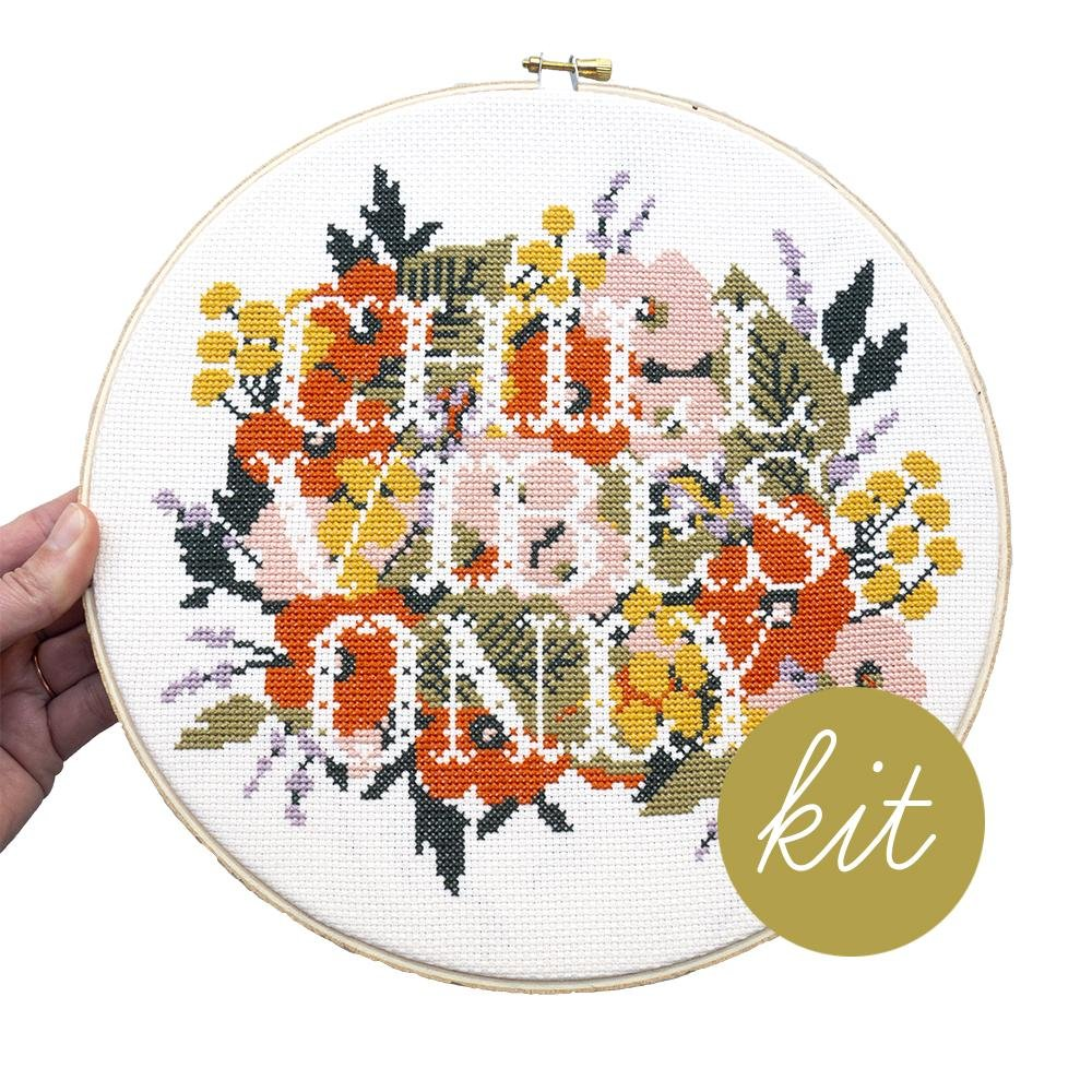 Junebug and Darlin Chill Vibes Only Cross Stitch Kit
