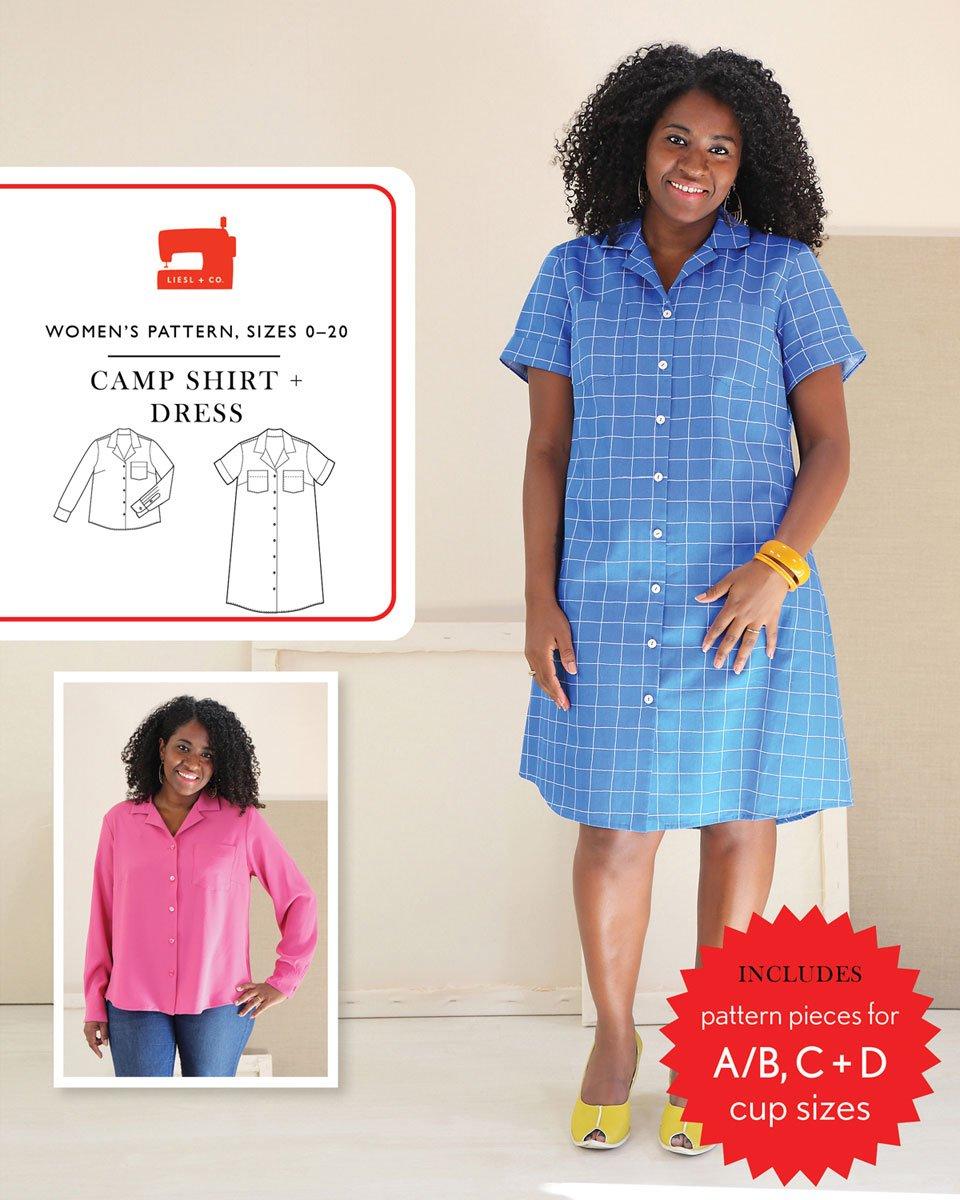 Liesl + Co. Camp Shirt + Dress Pattern Sizes 0-20