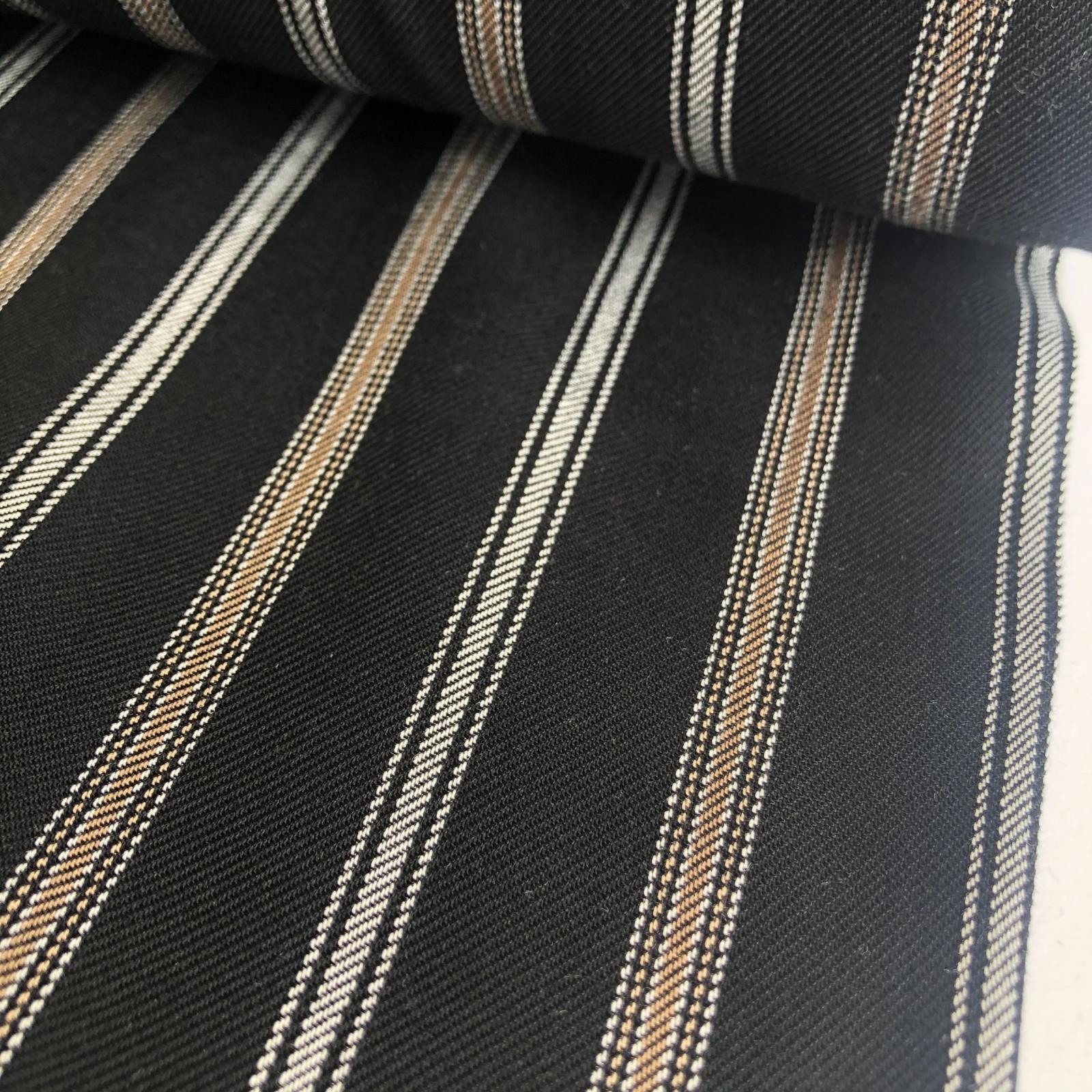 Deadstock Rayon Twill Challis - Multi Stripe Black