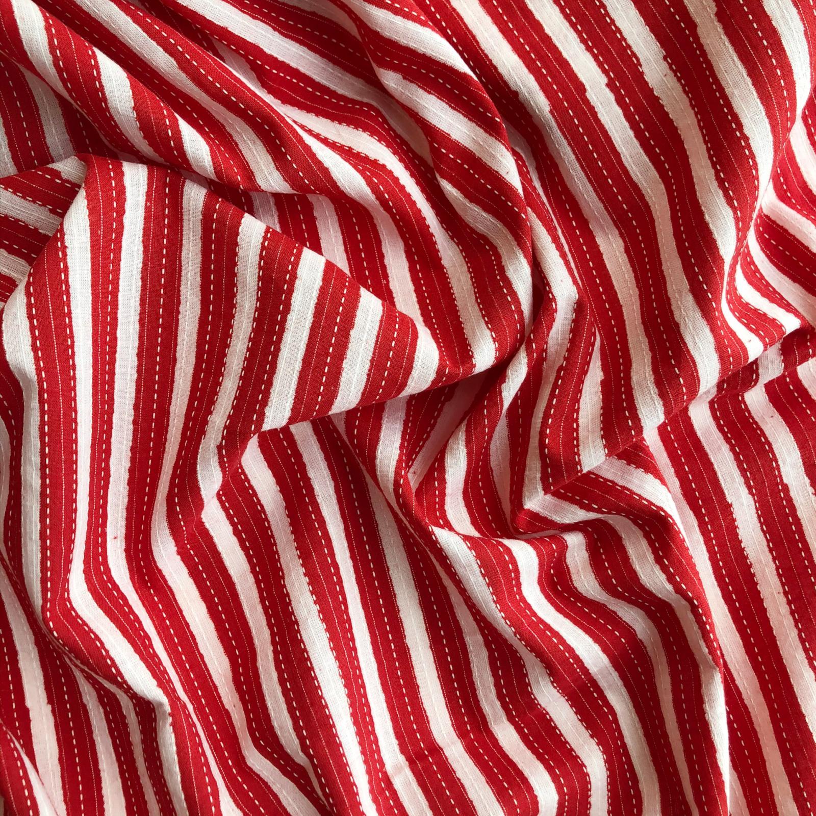 Remnant - Merchant & Mills Jaipur Cotton - Red Stitched Stripe - 1/3 yard