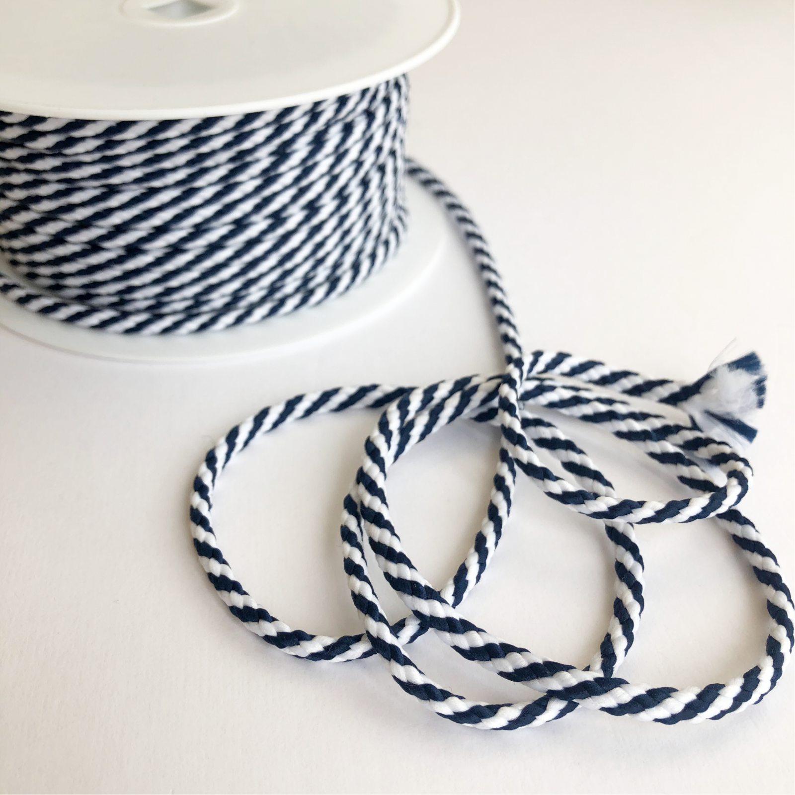 Drawstring Cord - Navy Blue and White Striped