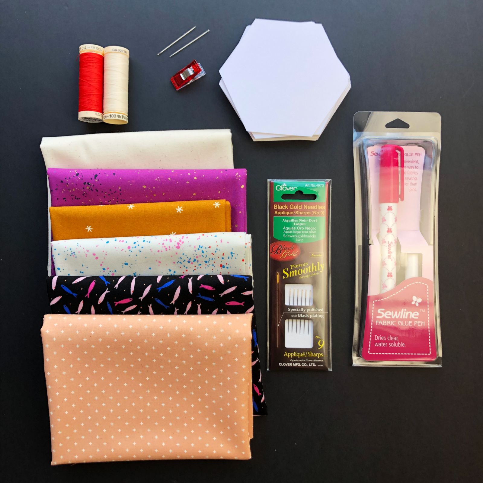Cut & Sew English Paper Piecing Class Kit - Tools And Fabric