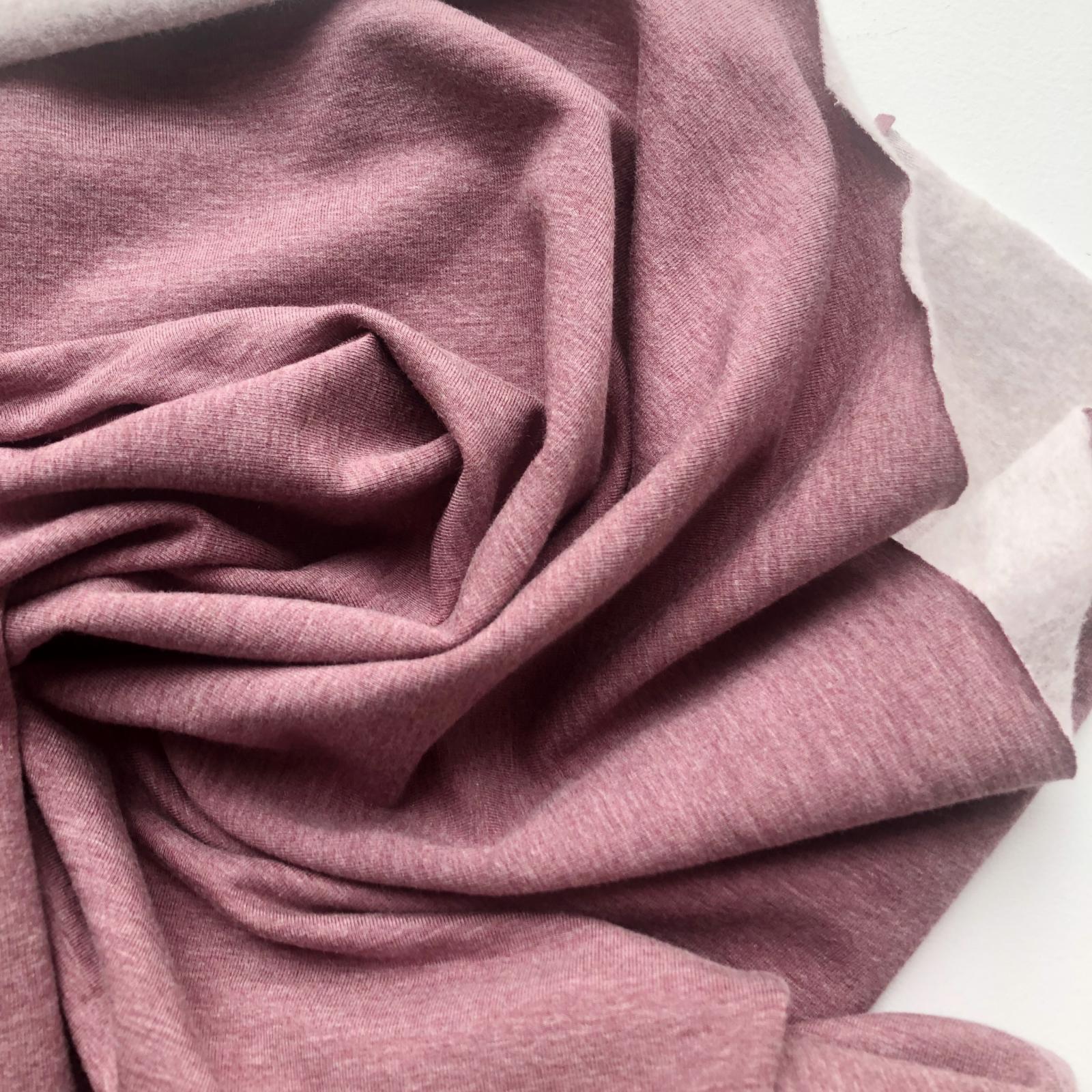 Oeko Tex Certified Bamboo Cotton Stretch Sweatshirt Fleece - Heather Rose Brown 60