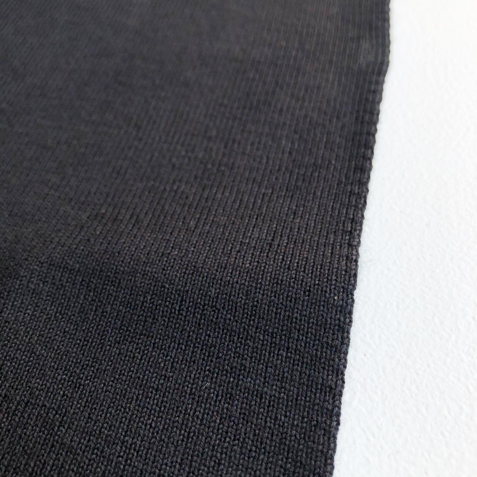 Designer Deadstock 1x1 Spun Rayon Heavyweight Sweatshirt Rib Knit - Black 36
