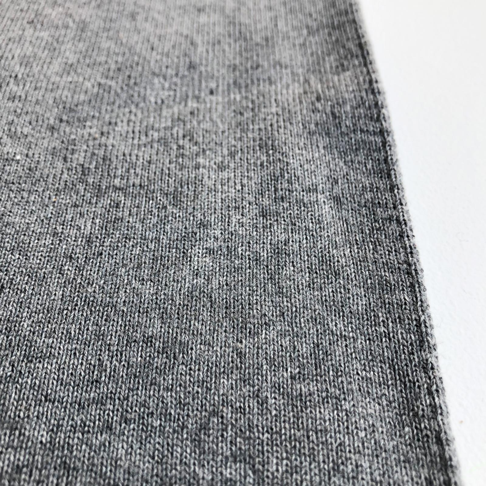 Designer Deadstock 1x1 Spun Rayon Heavyweight Sweatshirt Rib Knit - Heather Charcoal Gray 36