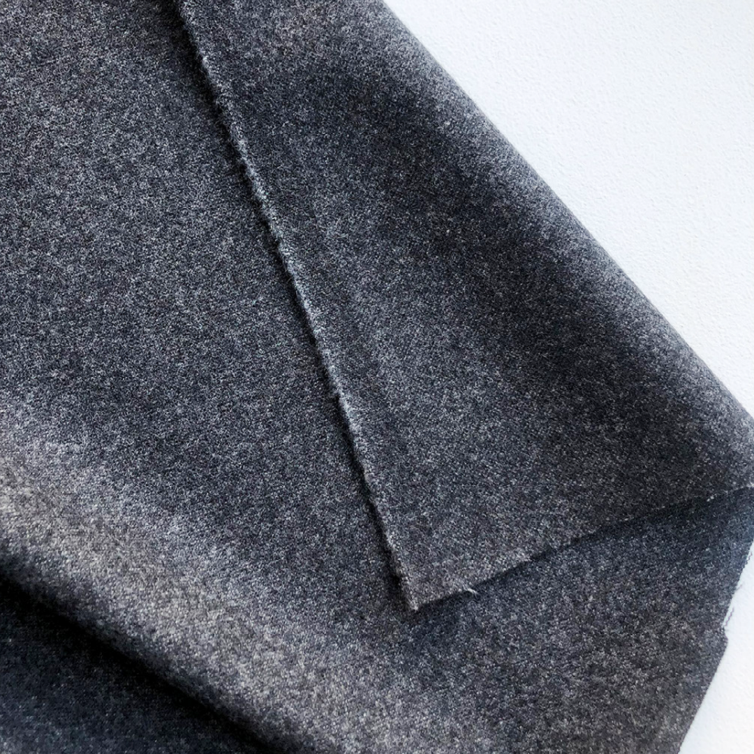 Designer Deadstock Wool Nylon Lycra Coating - Charcoal 58