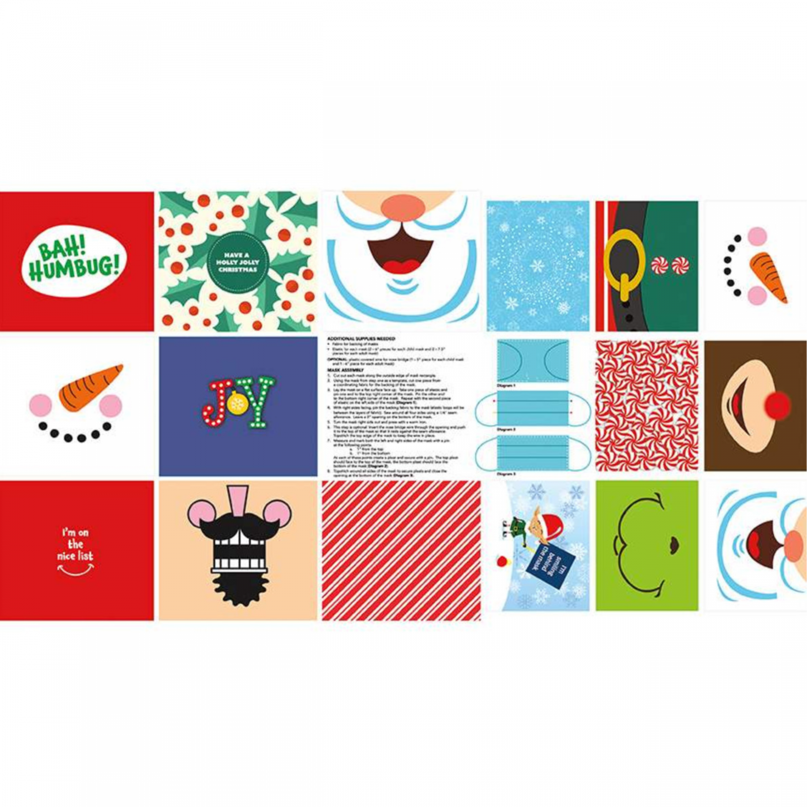 Christmas Face Mask Panel for Kids and Adults