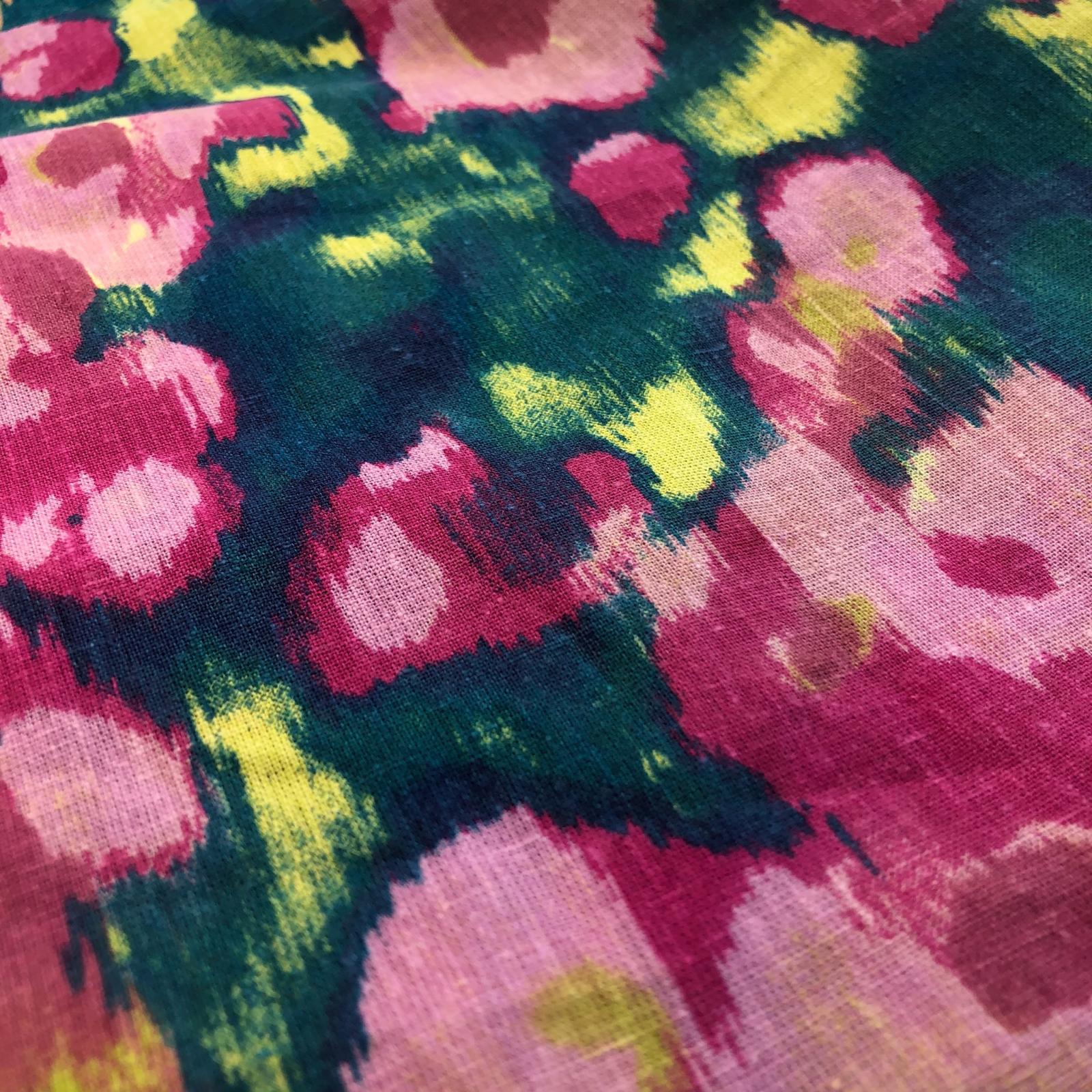 Designer Deadstock Plain Weave Hemp / Organic Cotton - Pink/Blue 58