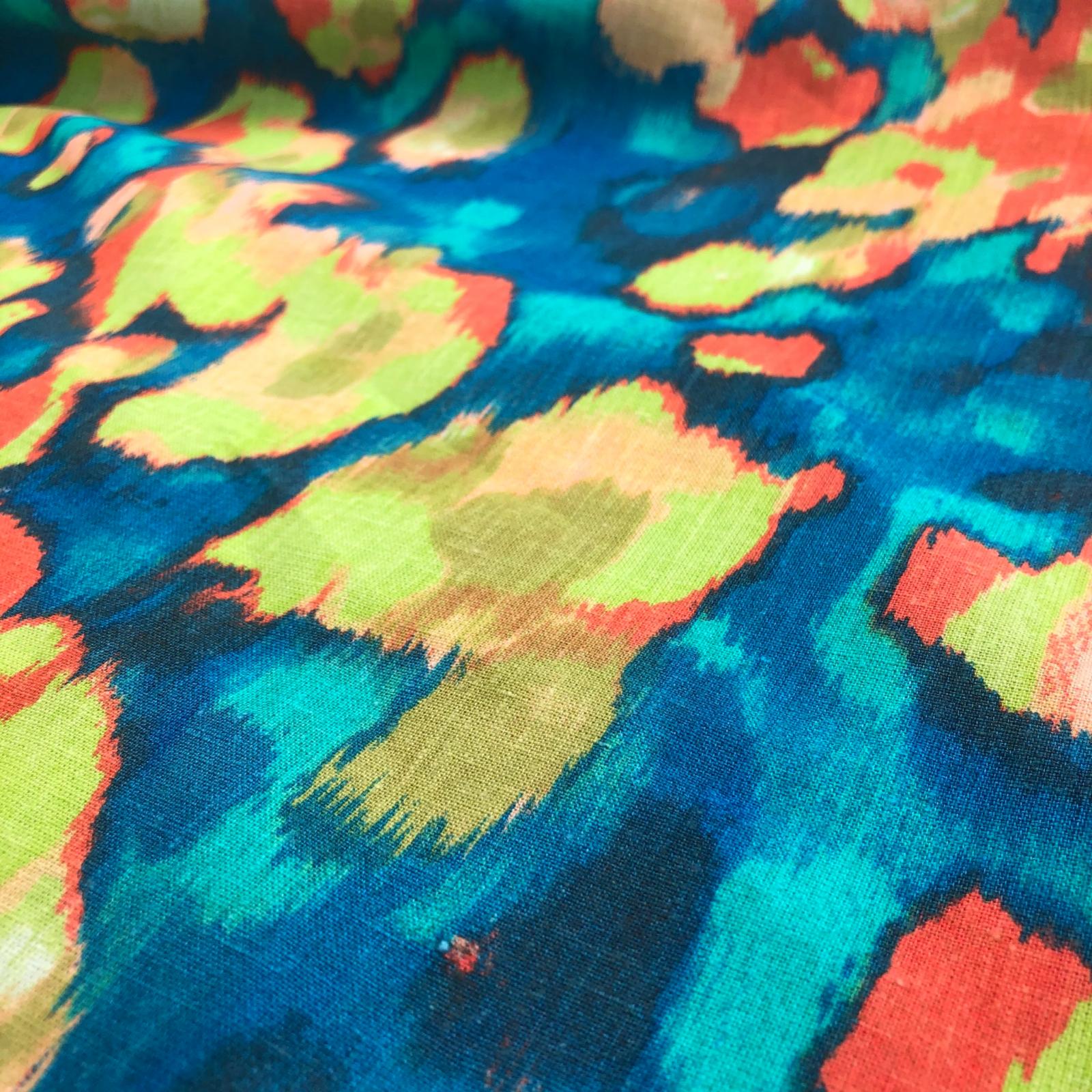 Deadstock Plain Weave Hemp / Organic Cotton - Orange/Teal