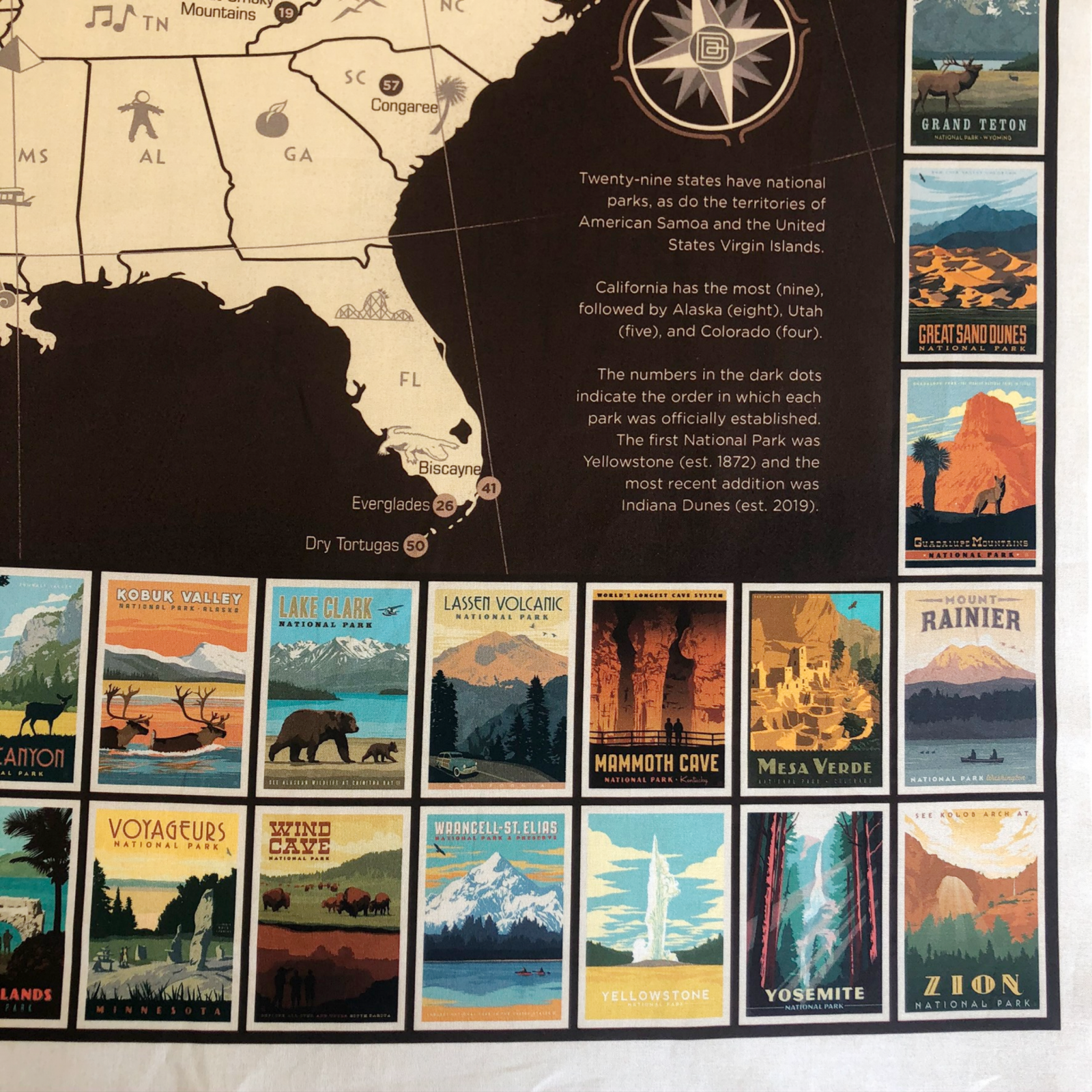 National Parks USA Map Cotton Poster Panel by Riley Blake