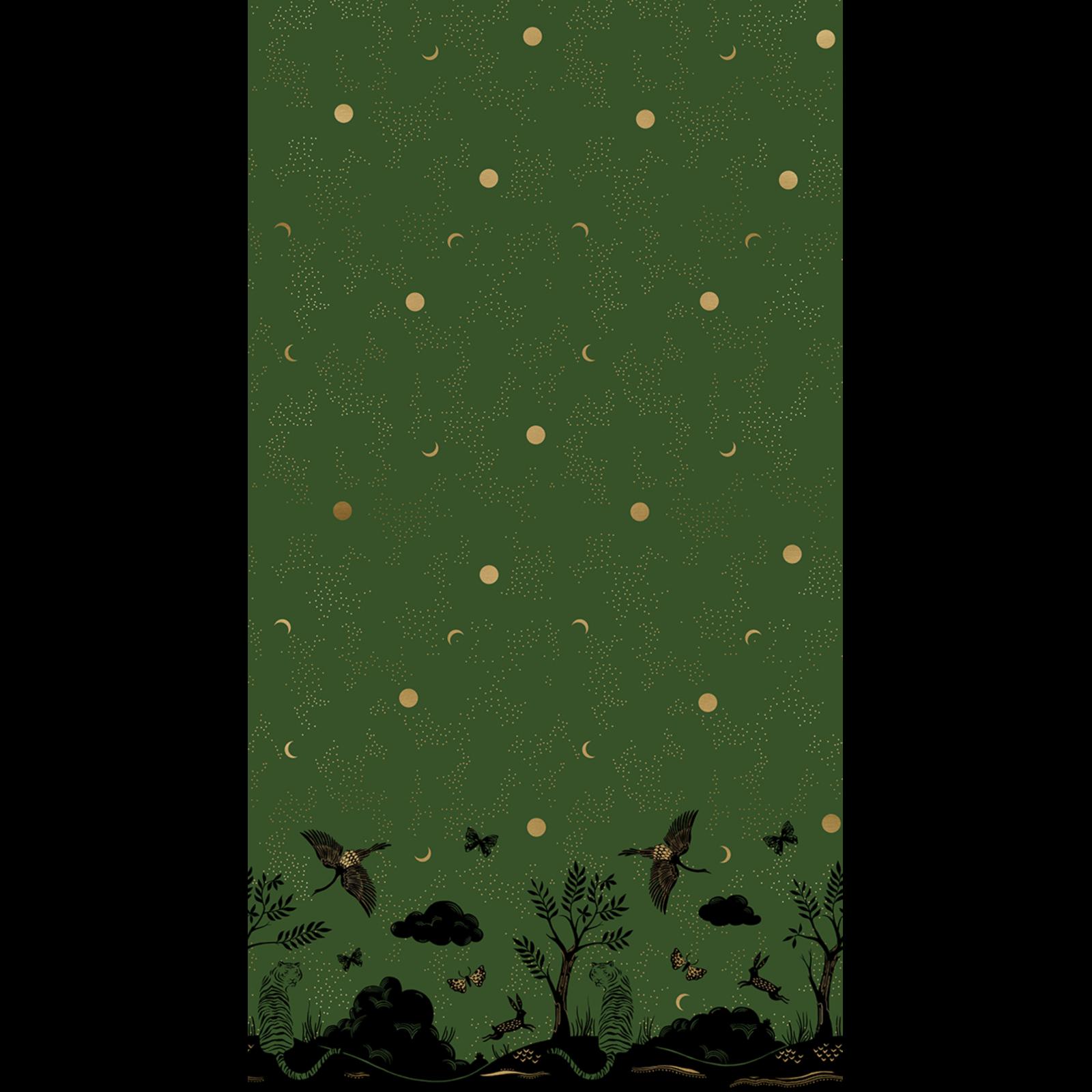 Tiger Fly Border Print Panel - Metallic & Green