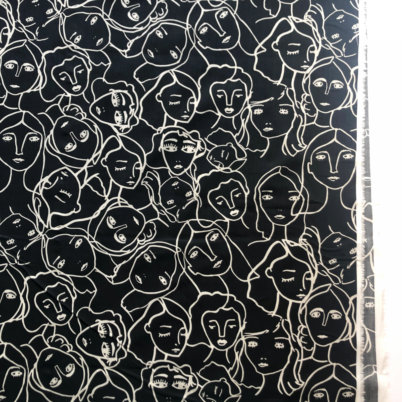 Lady McElroy Crowded Faces Cotton Lawn  - Black 55