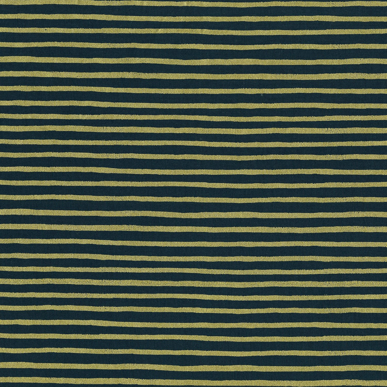 Remnant - Rifle Paper Co English Garden Painted Stripes Cotton - Navy Metallic - 1 2/3 yard