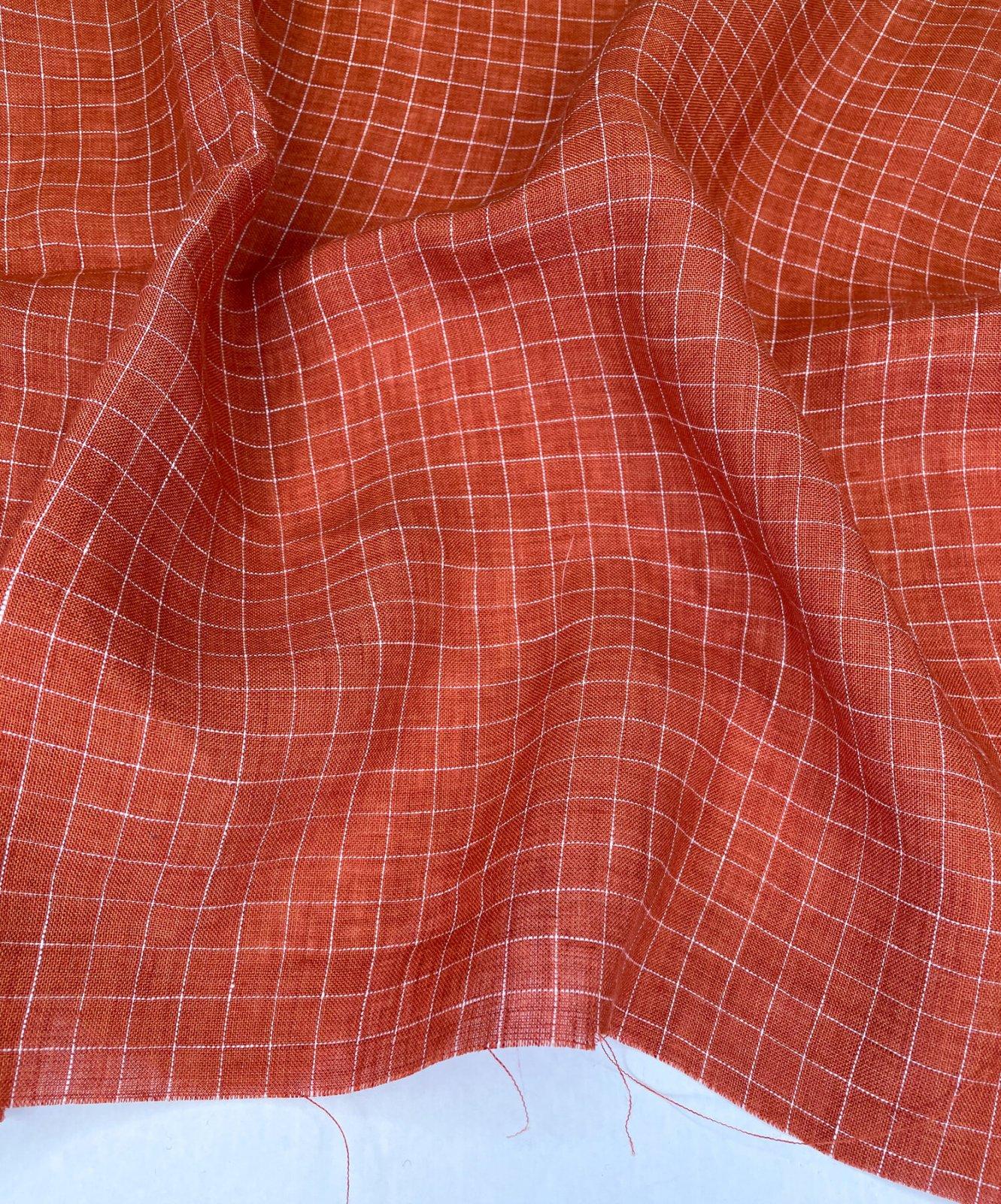 Savannah Check Linen 54 - Papaya