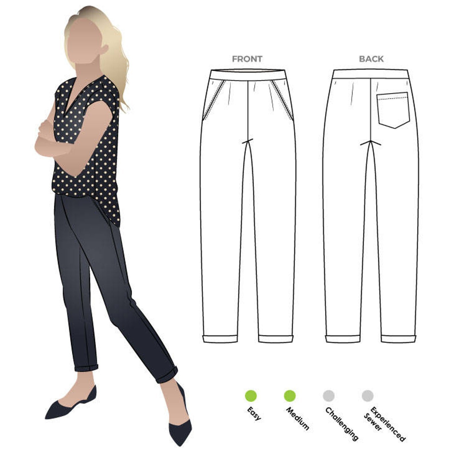 Style Arc Parker Ponte Pant Pattern - Sizes 4-16 or 18-30