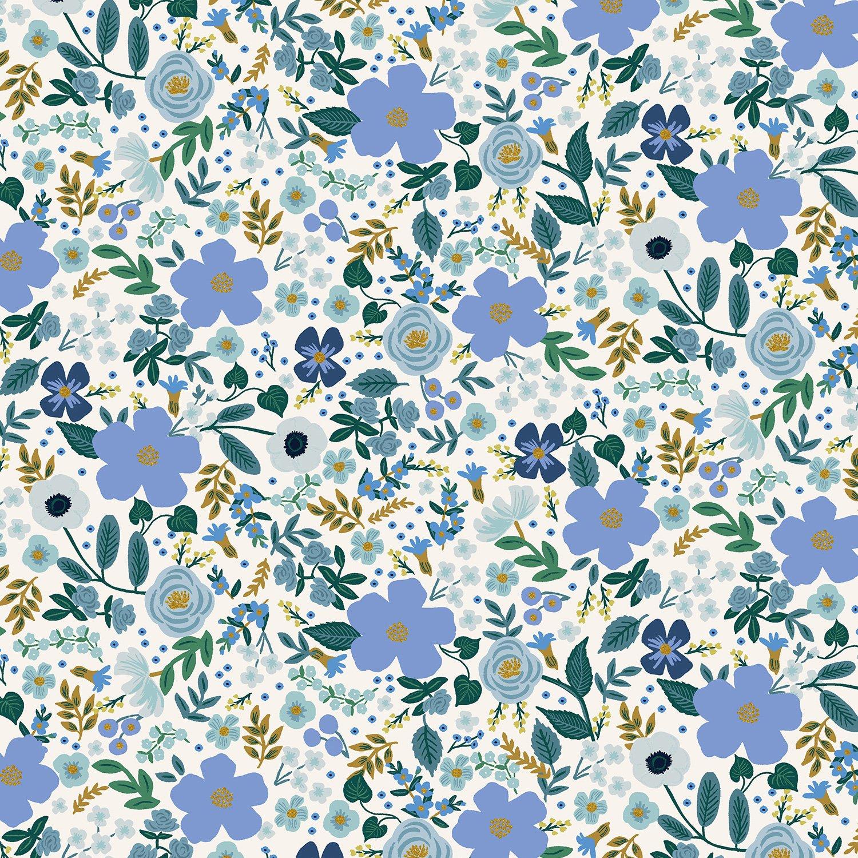 Rifle Paper Co. Garden Party - Wild Rose - Blue Metallic Cotton