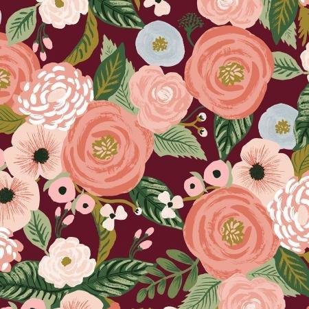 Rifle Paper Co. Garden Party Cotton/Linen Canvas - Juliet Rose - Burgundy 6.4oz