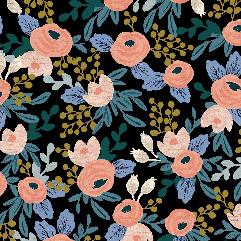 Rifle Paper Co. Garden Party - Rosa - Black Unbleached Canvas 6.4oz