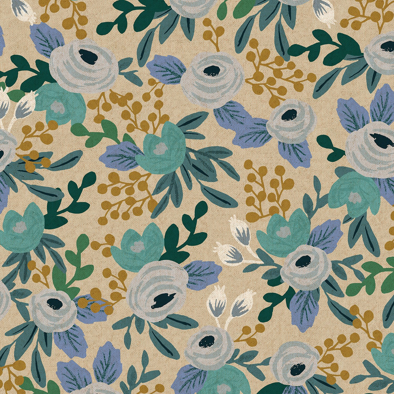 Rifle Paper Co. Garden Party - Rosa - Blue Unbleached Canvas 6.4oz