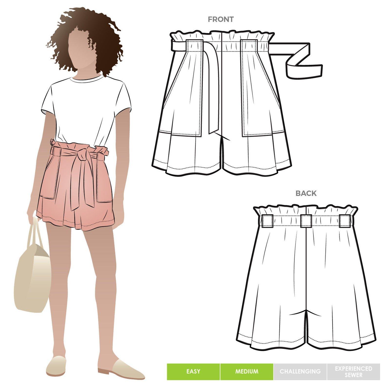 Style Arc Ellen Woven Short Pattern - Sizes 4-16 or 18-30