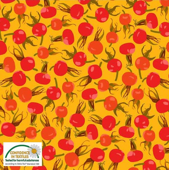 Summer Berries Rose Hips Cotton - Yellow