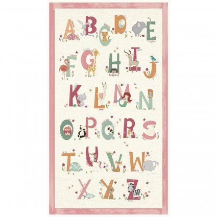 Animal Alphabet Pink Panel