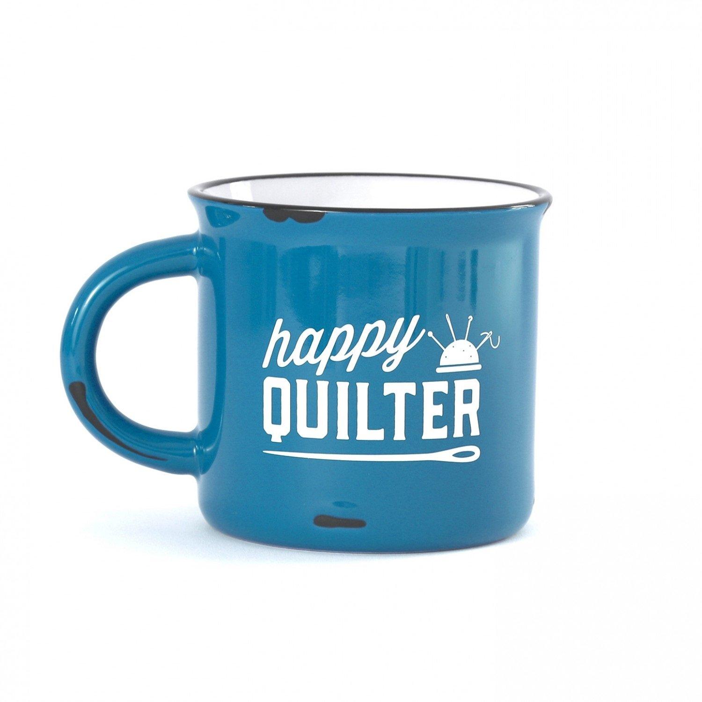 Happy Quilter Camp Mug Blue