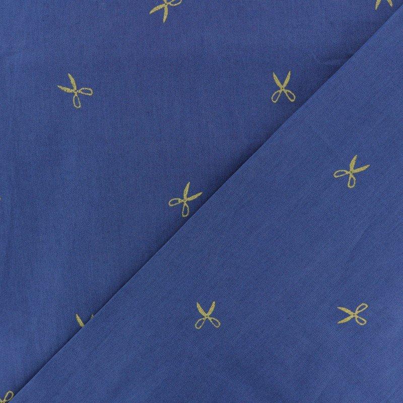 Hoffman Blue Batik wih Gold Scissor