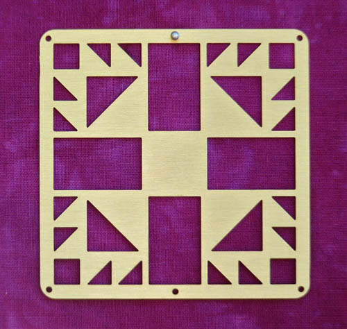 Barn Quilt Brass Mini--Bear's Paw Block