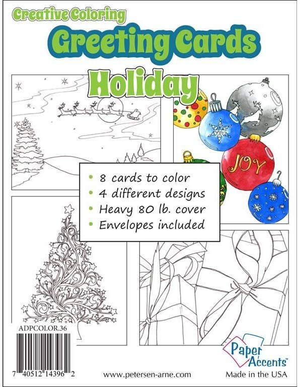 Paper Accents Coloring Card & Envelopes 41/4x51/2 8pc Holiday