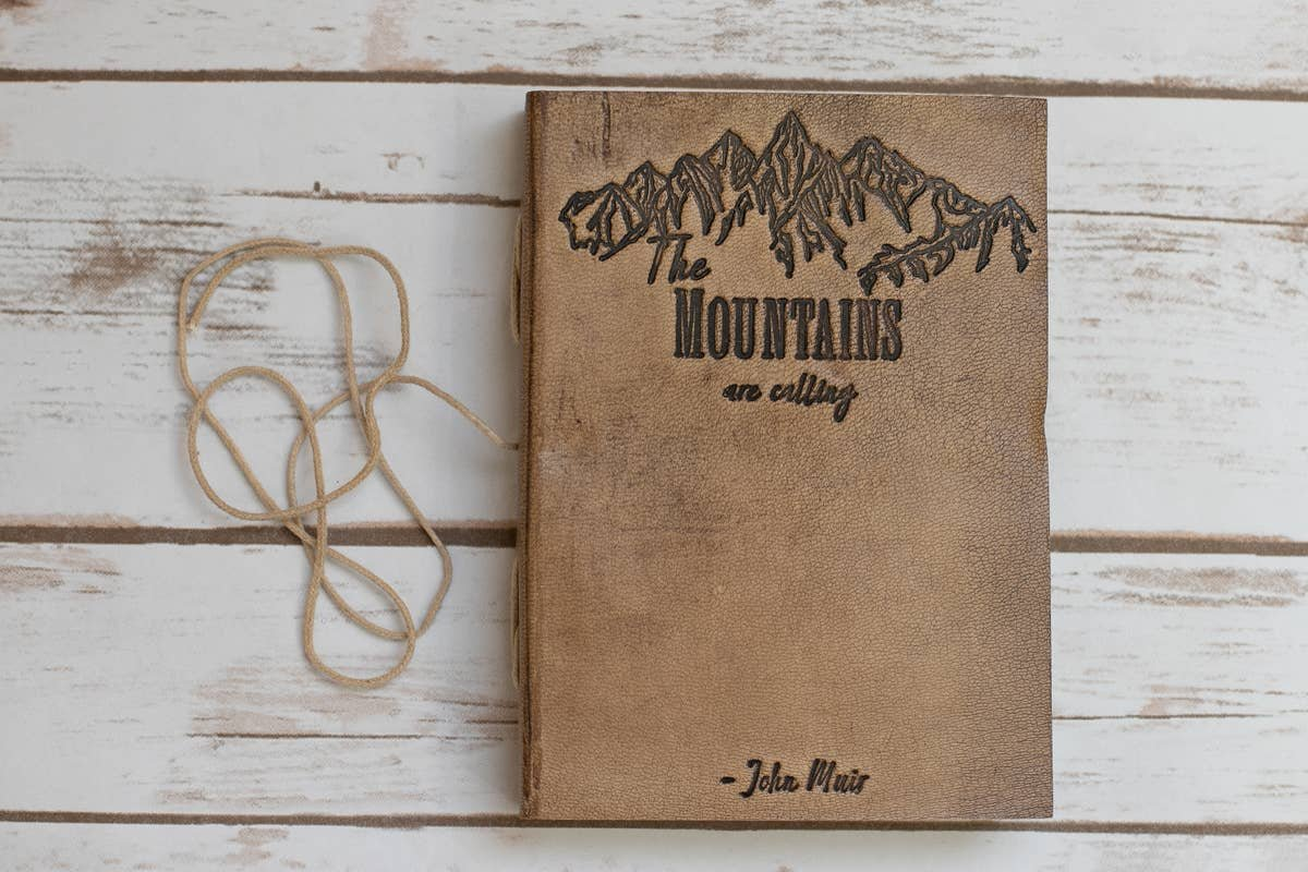 The Mountains Are Calling - handmade leather journal - Soothi