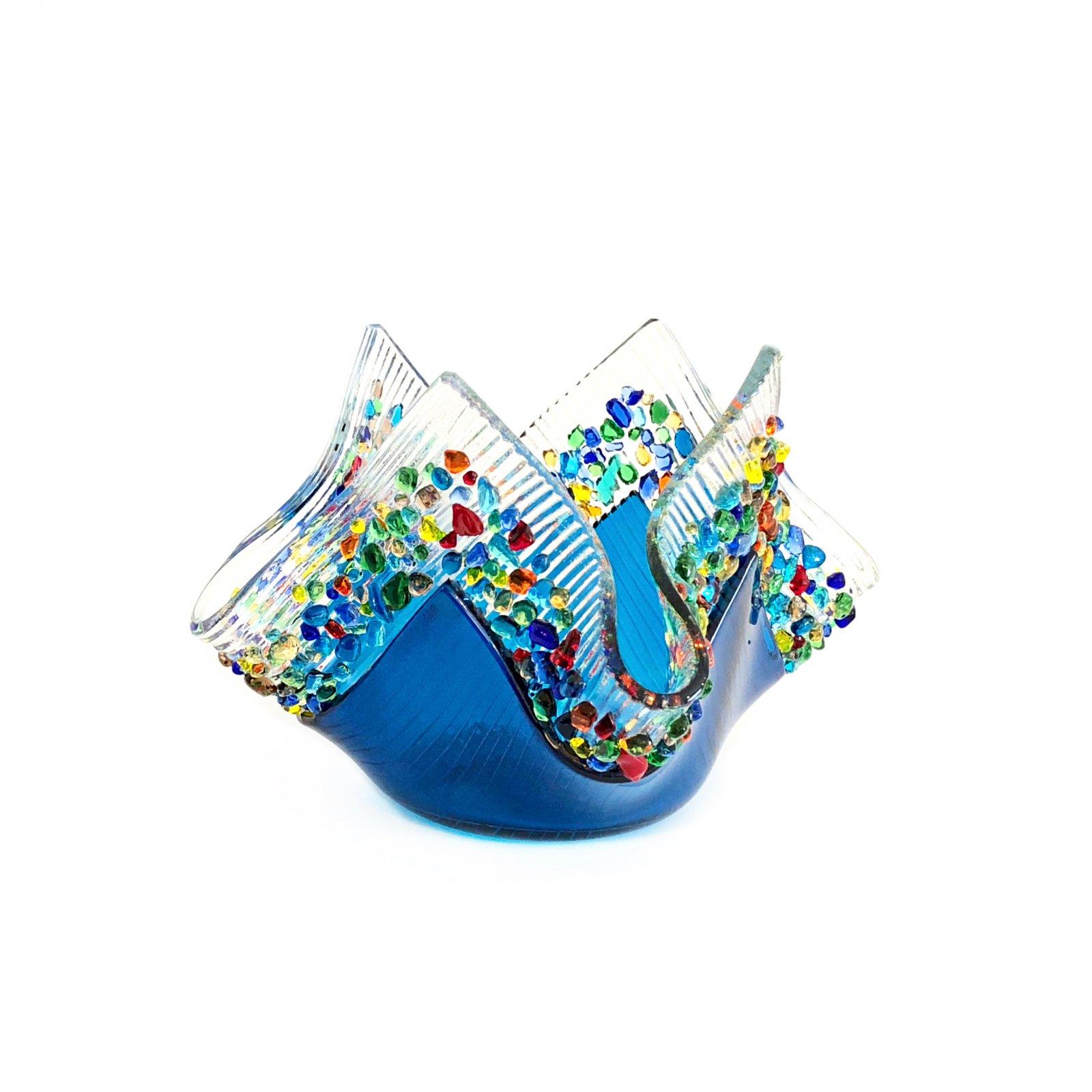 Glass Image Confetti Votive - Aqua