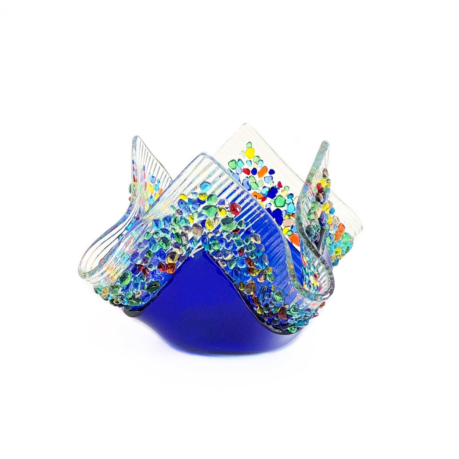 Glass Image Confetti Votive - Cobalt