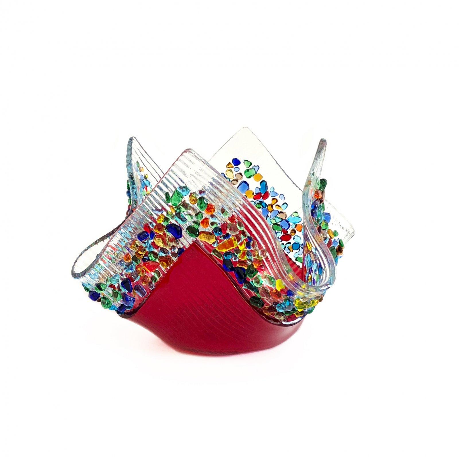 Glass Image Confetti Votive - Red