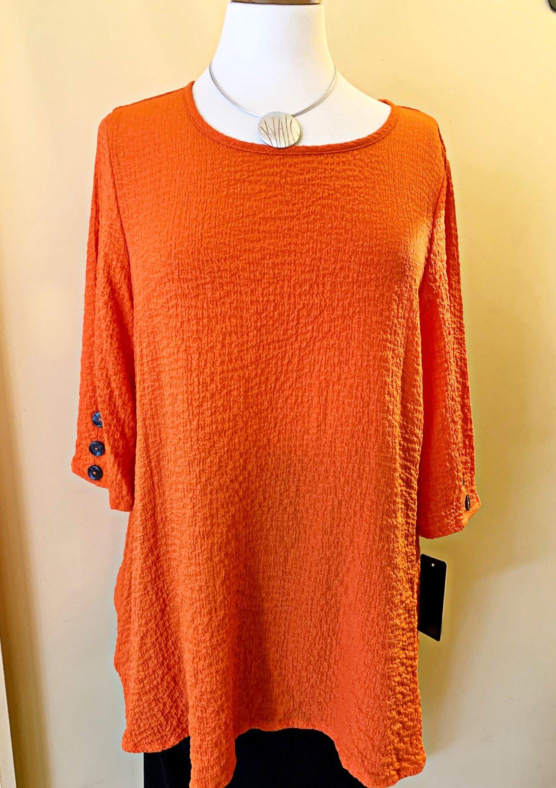 Yushi Orange Tunic Top