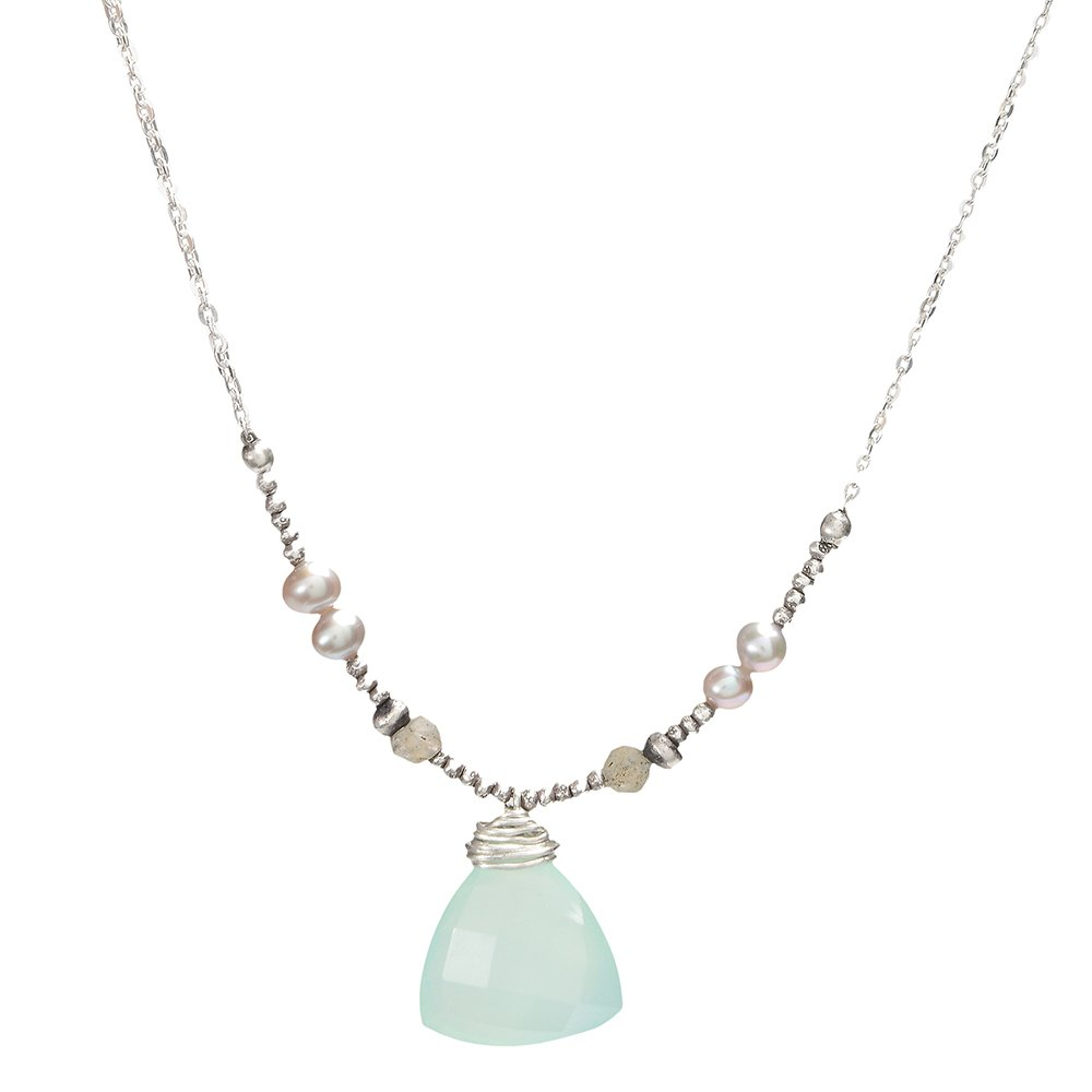 J&I CHALCEDONY, PEARL, AND LAB NECKLACE