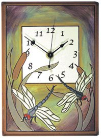 FIRED DRAGONFLY BULRUSH CLOCK
