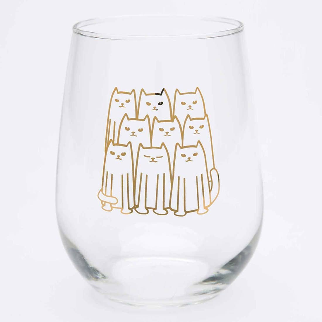Cat Stemless Wine Glass
