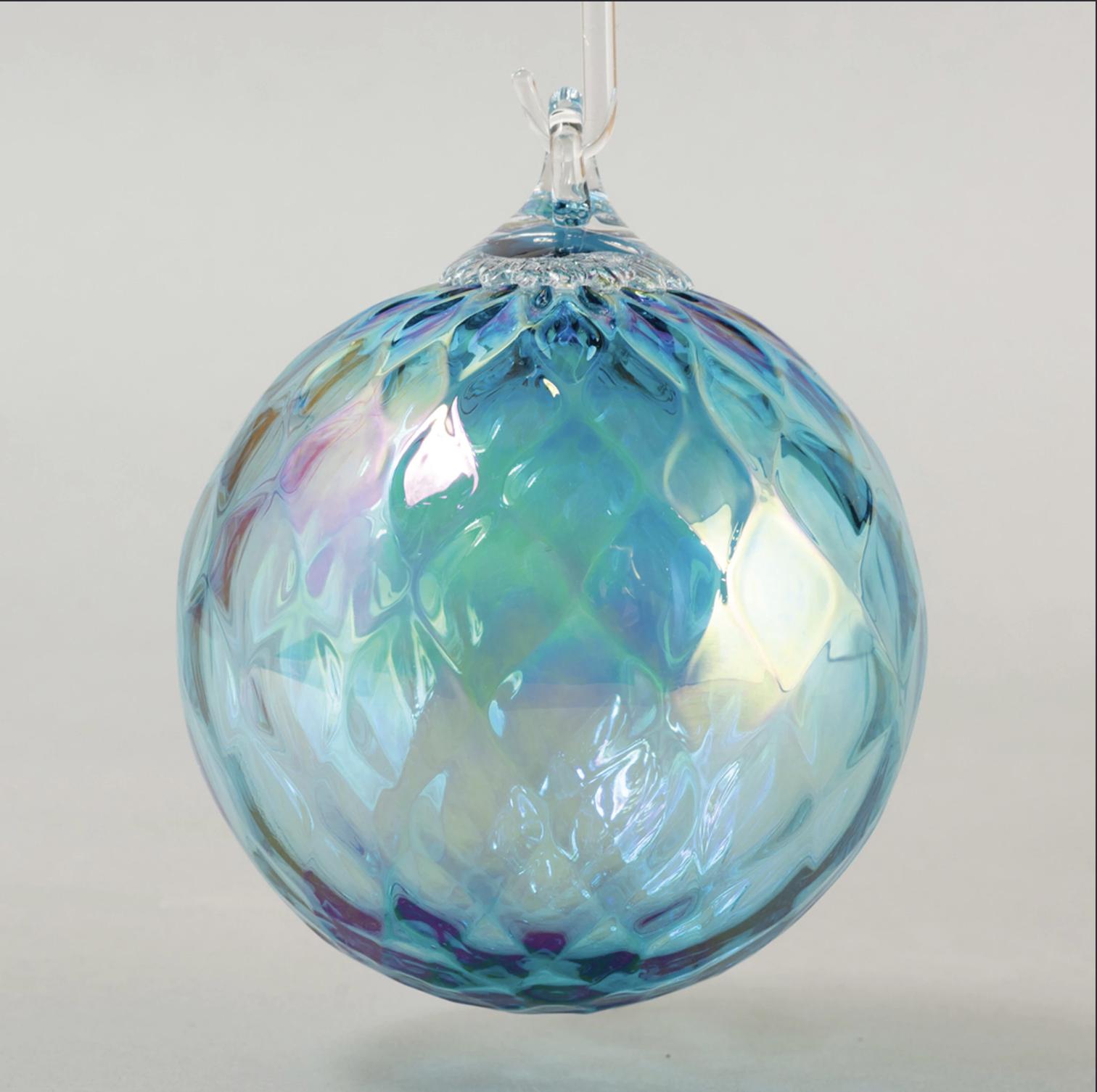 GLASS EYE BIRTHSTONE ORNAMENT DECEMBER
